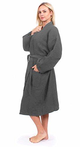 - Turkuoise Unisex Plus Size Long Waffle Robe, Polycotton Kimono Bathrobe Made in Turkey (Gray, Large/One Size)