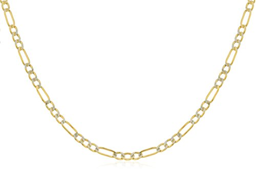 14K Yellow Gold 2.3mm Pave Figaro Chain (22) (GO-1376) ()