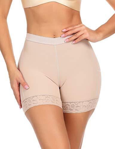 (Firm Control Mid Waist Shapewear Butt Enhancer Control Panty Beige Mid Waist L)