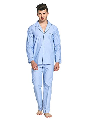 Everconform Men's Pjs Set Long Sleeves Sleepwear Pajamas Loungewear with Drawstring 100% 60S Cotton Blue