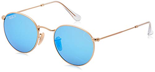 Ray-Ban RB3447 Round Metal Sunglasses, Matte Gold/Polarized Blue Flash, 50 mm