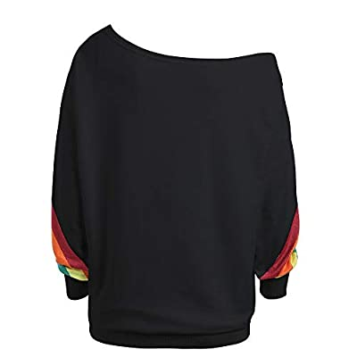 Womens Off Shoulder Sweatshirts,Long Sleeve Casual Rainbow Pullover Blouse Shirts Tops: Clothing
