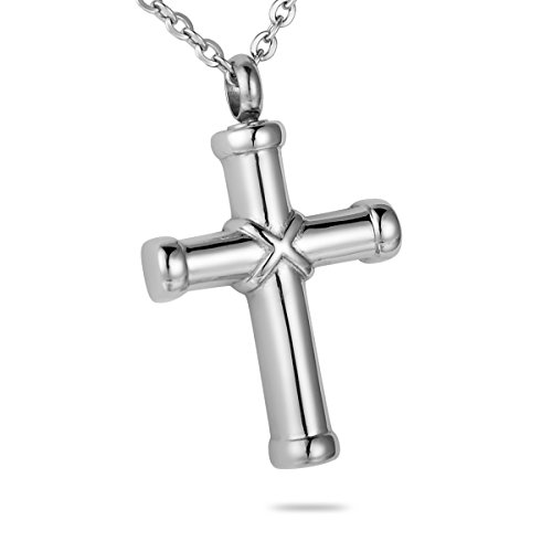 HooAMI Hawser Cross Memorial Keepsake Urn Necklace Stainless Steel Cremation Jewelry