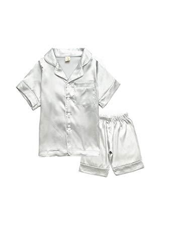 BAIYIXIN Little Girls Boys Short Satin Pajamas Set Classic Silk Pjs 2 Piece Leisure Toddler Kids Sleepwear (9-10 Years/Tag 160, Sliver)