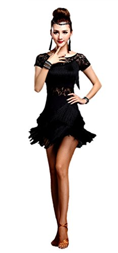 [Honeystore Women's Latin Dress Lace Pattern Tiered Tassel Flapper Costume Dress Black M] (Latin Costumes Dresses)