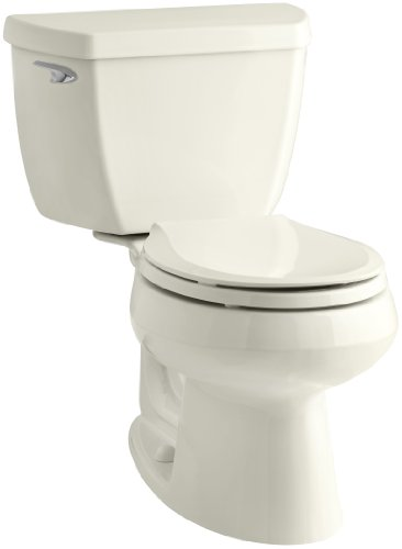 Kohler K-3577-T-96 Wellworth Classic 1.28gpf Round-Front Toilet with Class Five Flushing Technology and Left-Hand Trip Lever with Tank Locks, Biscuit ()