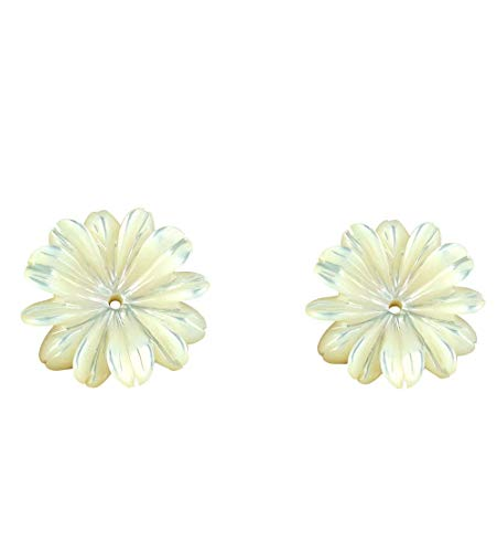Carved Flower Mother of Pearl 20mm (1 pr) Jewelry or Earrings Jacket