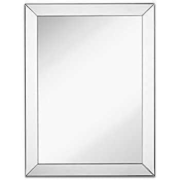 """Large Framed Wall Mirror with 3 Inch Angled Beveled Mirror Frame 