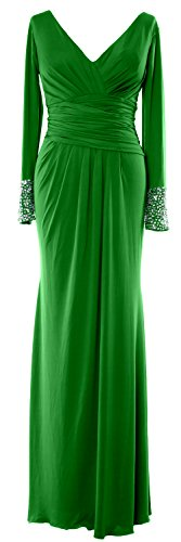 of Bride Evening Long Dress MACloth Sleeves Neck Mother Formal Jersey V Gown the Green qYxS6xTZ