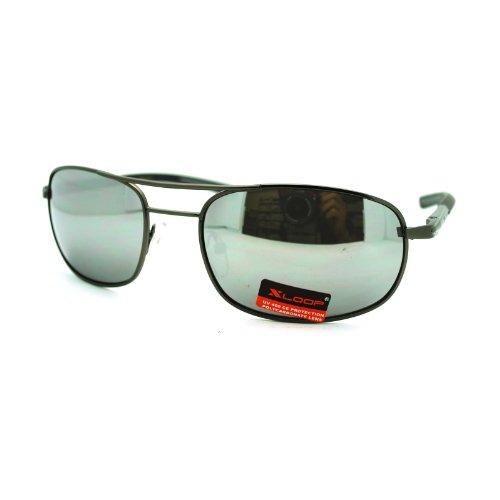 X Loop Mens Sports Narrow Rectangular Warp Metal Sunglasses Silver Mirror