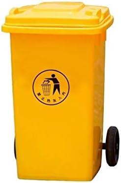滑らかな表面 屋外のゴミ箱、厚み付けプラスチックイエローゴミ箱パークザ・モール大容量キャスター付きゴミ箱 リサイクル可能なデザイン (Color : Yellow, Size : 100L)