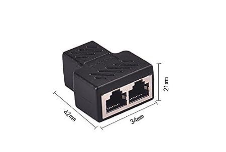 Amazon.com: RJ45 Splitter Connectors Adapter 1 to 2 Ethernet Splitter Coupler Double Socket HUB Interface Contact Modular Plug Connect Network LAN Internet ...