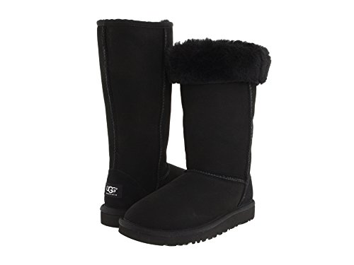 UGG Kids Girls' Classic Tall (Little Big Kid), Black, 1 M -