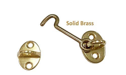 QCAA Forged Brass Cabin Hook Latch & Eye, Made in Taiwan (2pack, Vibrated Brass (2-1/2