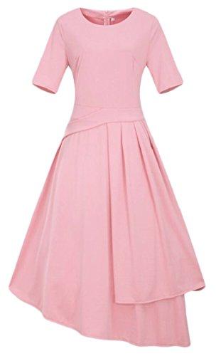 Party Sleeve Short Women's 1950s Maxi Dresses Jaycargogo Pink Stylish Retro Cocktail Irregular x8nSqZ6w