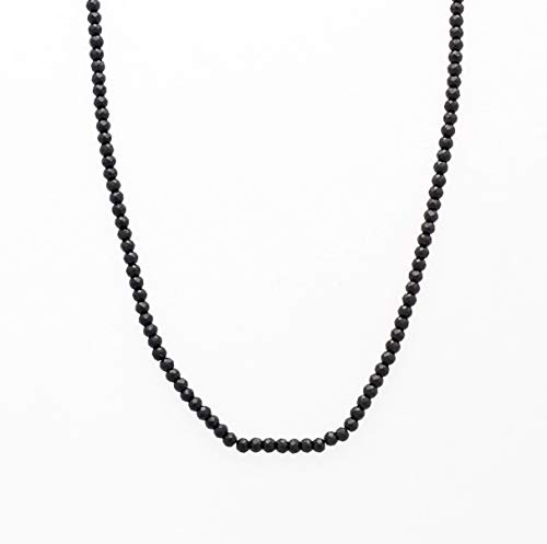(Natural Black Spinel Roundel Beads Necklace Strand with Sterling Silver findings 16
