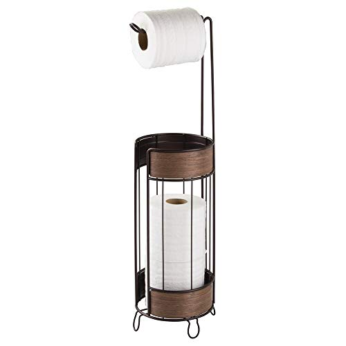 Brass Standing Toilet Tissue Stand - mDesign Metal Freestanding Toilet Paper Roll Holder Stand and Dispenser - Storage for 3 Extra Rolls of Reserve Toilet Tissue - for Bathroom Storage - Holds Mega Rolls - Bronze/Walnut Wood Finish