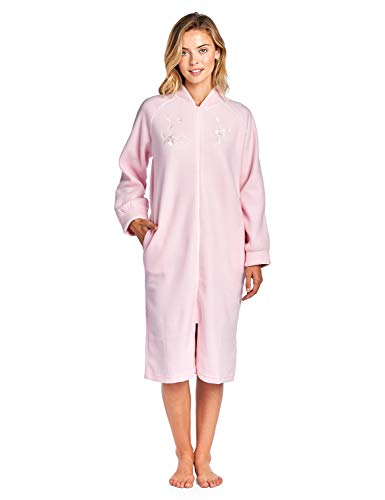 Casual Nights Women's Zip Up Front Long Fleece Robe House Dress - Pink - Medium