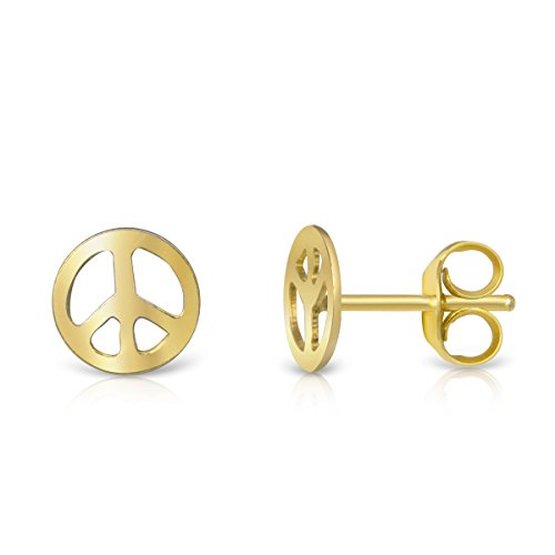 - 14K Yellow Gold Plated Sterling Peace Sign Symbol Small Stud Earrings Girls Teens Women