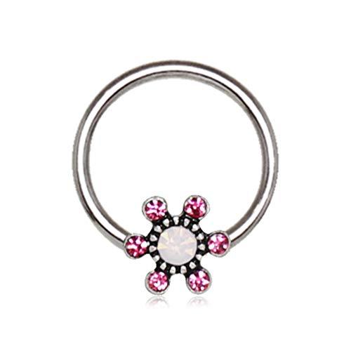 BYB Barbells Sparkle Flower Steel CBR Hoop Captive Bead Ring (16G - Jeweled Captive Ring