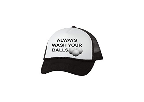 Rogue River Tactical Funny Golf Hat Always Wash Your Balls Trucker Baseball Cap Retro Vintage Golfers Gift (Black) ,Large