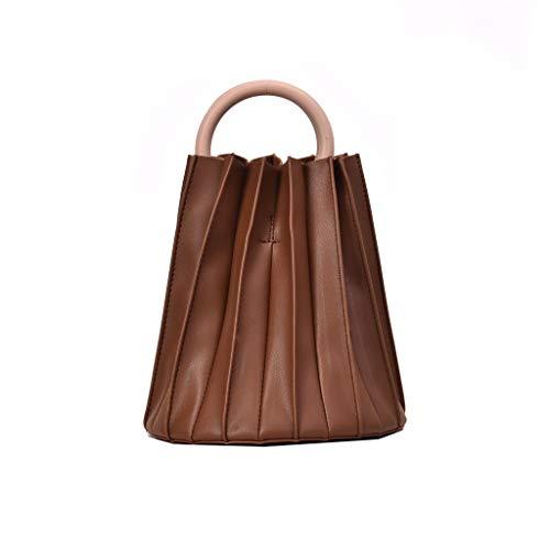 HongMong Retro Women Leather Color Pure Tote Bouffant Bag Handbag Messenger Bag Beach bag