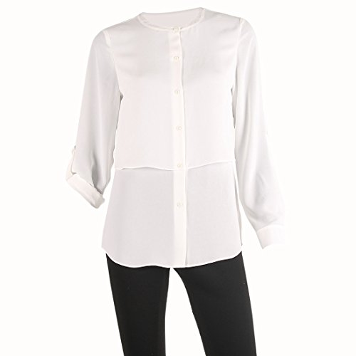 Women's Roll Tab Button Down Overlap Uppder Body Solid Boat Neck Button-End,Eggshell,X-Large