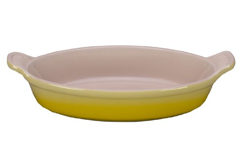 Le Creuset Heritage Stoneware 1-Quart Oval Au Gratin Dish, (Yellow Oval Baking Dish)