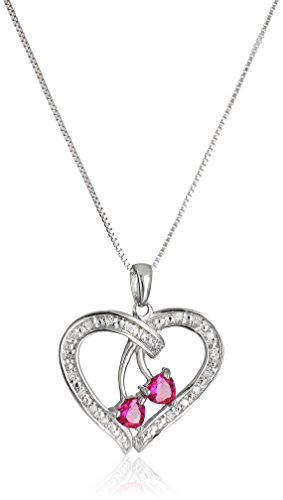 Sterling-Silver-Created-Ruby-and-Diamond-Duo-Hearts-Pendant-Necklace-18