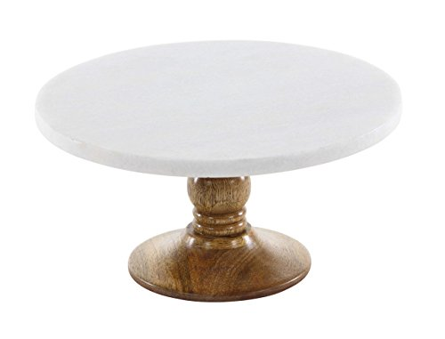 Deco 79 94519 Round Mango Wood and Marble Cake Stand, 6