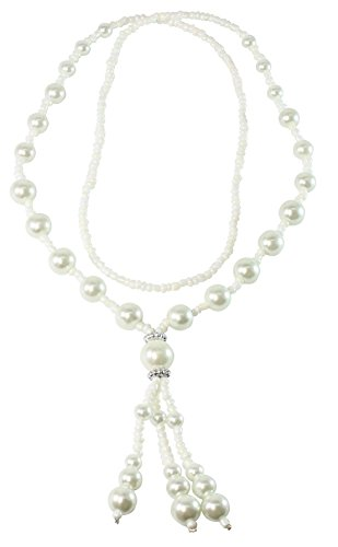 [BDJ White Synthetic Pearl Tassel Dangling Pendant Strand Necklace 26 Inches (WPTNL02)] (Rubies Costume Co Phone Number)