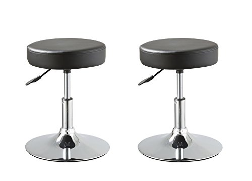 Price comparison product image Duhome Set of 2 Medical Stools Office Reception Spa Salon Dining Chairs Swivel Height Adjustable PU Leather Seat Contemporary (Black)