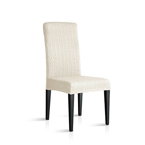 2 Pack Slipcover - TIKAMI Spandex Dinning Fitted Cover Stretch Chair Slipcovers (2, Off-White)