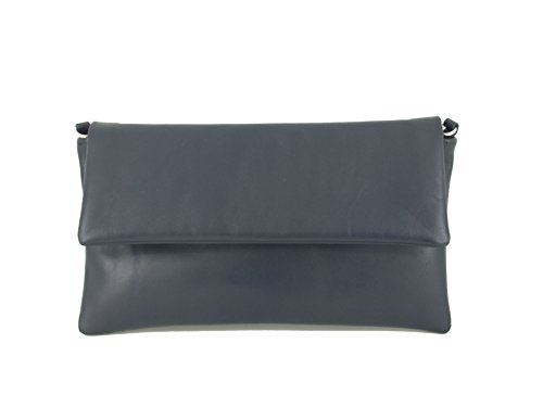Loni Womens Fine Compact Size Real Leather Clutch Bag/Shoulder Bag Wedding/Occasion Bag In Navy by LONI