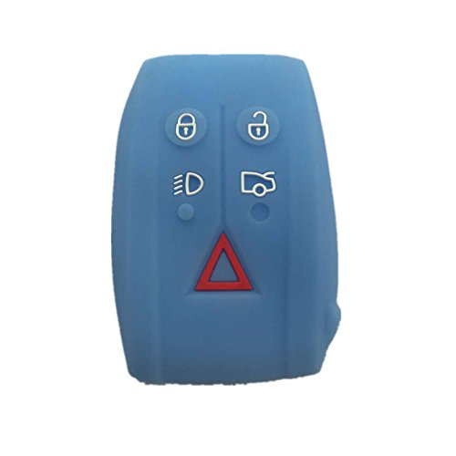 New light blue protect silicone 5 buttons remote smart key for House key cover with light