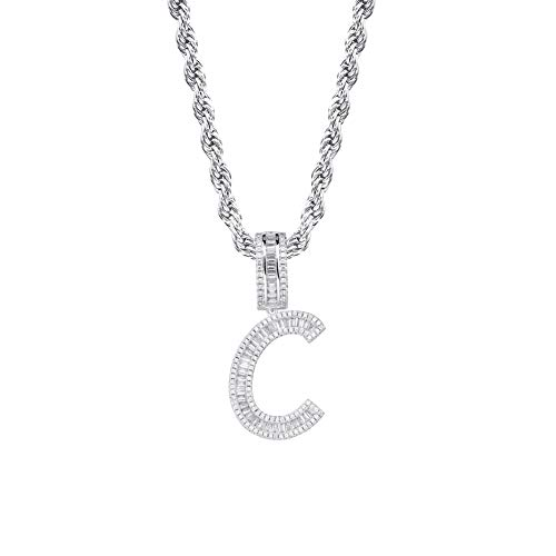 - GUCY Initial Pendant Necklace Iced Out Cubic Zirconia Letter Pendant Chain Personalized Name Necklace for Women Gift(Silver C, 24)