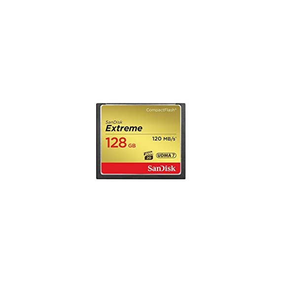 SanDisk 128GB Extreme Compact Flash Memory Card, Transfer Speed up to 120MB/s - Bundle Extreme 128GB UHS-I Class 10 U3… 1 128GB Extreme Compact Flash Memory Card - Bundle With SanDisk Extreme 128GB UHS-I Class 10 U3 V30 SDXC Memory Card Up to 85MB/s Write Speeds for Exceptional Shot to Shot Performance: With write speeds of up to 85MB/s, the SanDisk Extreme CompactFlash Memory Card adds to your mid-range to-high-range DSLR's performance during burst-mode shooting, rapid shots, and RAW plus JPEG capture. The card records photos almost instantly, ensuring you'l catch your best shot Includes VPG-20 Specification for Professional-Grade Video Capture: Featuring a Video Performance Guarantee (VPG-20). The card's VPG-20 ensures data transfer between card and camera with a sustaineddata recording rate of 20MB/s for a smooth and unbroken video stream. You'll be able to record in resolutions as high as 1080p without skipped frames.