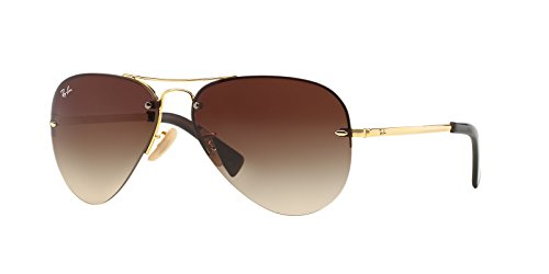 Ray-Ban RB3449 Aviator Sunglasses 59 mm (Gold Metal Frame/Brown Gradient Lens, Brown - A Sunglasses Ban Ray