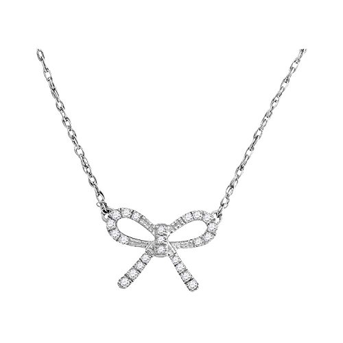 GemApex Diamond Bow Tie Pendant Necklace 10k White Gold Ribbon Knot Chain with Charm Fashion Style 1/10 Cttw
