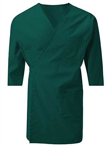 7Encounter Unisex Multifunctional 3/4 Sleeves Wrap Smock With Chest and Side Pockets Green Size L/XL Wrap Around Smock