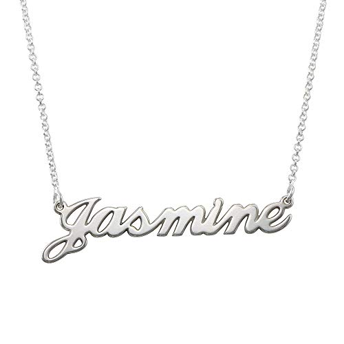 MyNameNecklace Jasmine Name Necklaces - Personalized Name Jewelry in Sterling Silver (My Best Friends Girl Jasmine)