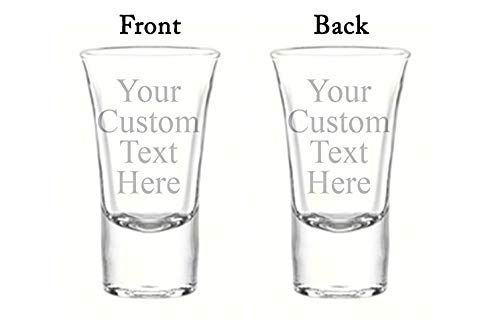 Personalized Set of 6 DOUBLE SIDED Custom Shot Glass Glasses (1.75oz) Free Engraving Groomsman and Bridesmaid Wedding Favor Gift (Double Side Engraving)