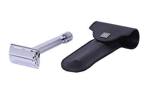 Erbe Safety Razor Tradition Chrome with genuine Leather Etui black Becker-Manicure 9896_6489