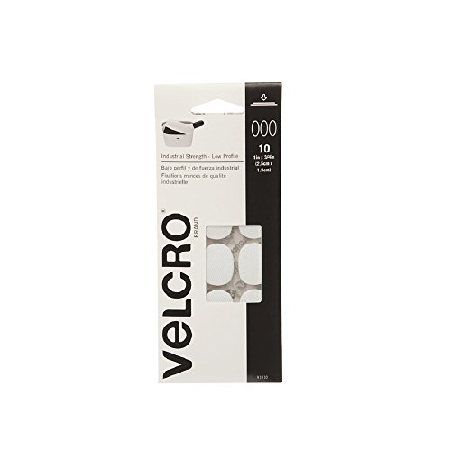 VELCRO Brand Industrial Strength Fasteners | Low Profile Thin Design | Professional Grade Heavy Duty Strength | Indoor Outdoor Use | 1in x 3/4in Ovals, 10 Sets, White