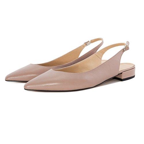 Soireelady Women's Slingback Low Heel Pumps Shoes Pointed Toe Ankle Strap 2cm Block Heel Summer Pumps Beige 4zIeS