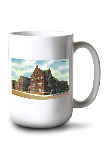 Lantern Press Chicago, Illinois - Exterior View of Hull House (15oz White Ceramic Mug)