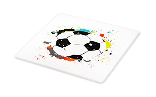 Lunarable Boy's Room Cutting Board, Abstract Grunge Soccer Ball in Rainbow Colors Game Hobby Activity, Decorative Tempered Glass Cutting and Serving Board, Large Size, Black White Multicolor by Lunarable