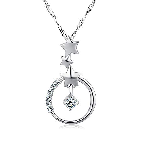 CLY Jewelry 925 Sterling Silver Polished Star Crystal Pendant Necklace Galaxy Moon Ideal Gift for Women Girl Mom Daughter Wife Mother's Day Anniversary Christmas Birthday ()