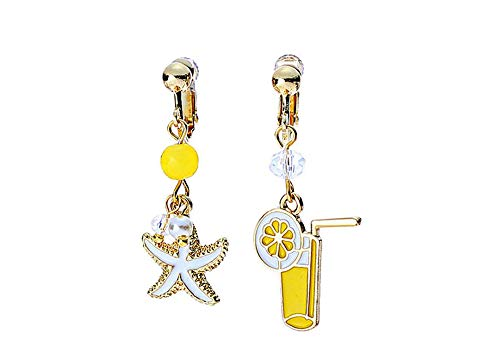 Starfish Tropical Drink Mix Matched Earrings Yellow Fun Asymmetrical Dangle Earrings Mismatched Jewelry