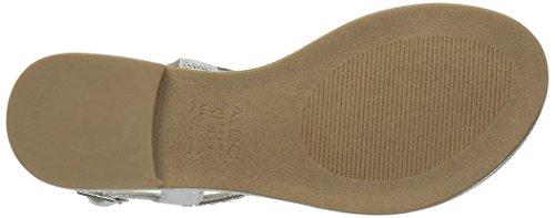 Aldo Womens Sheeny Flat Sandal Silver